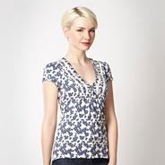 Designer navy floral tie back top