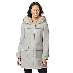 RJR.John Rocha - Light grey faux fur trim hooded coat