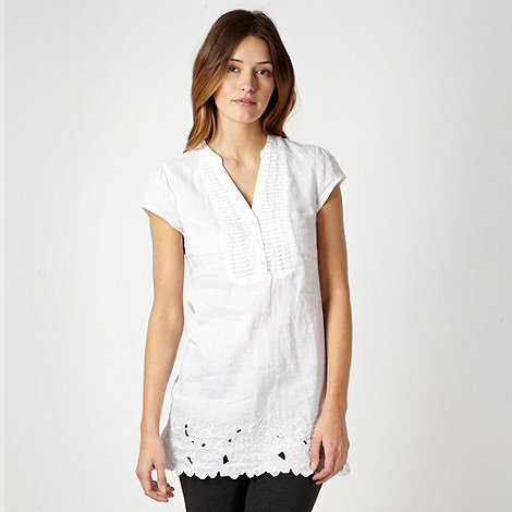 RJR.John Rocha - White cutwork linen tunic top