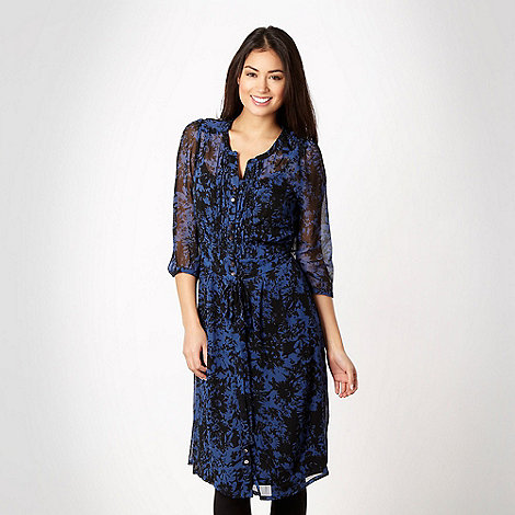RJR.John Rocha - Designer royal blue floral shirt dress