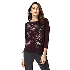 RJR.John Rocha - Dark red floral embroidered jumper