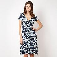 Designer navy floral jersey dress