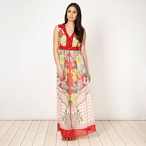 RJR.John Rocha - Designer red scarf printed maxi dress