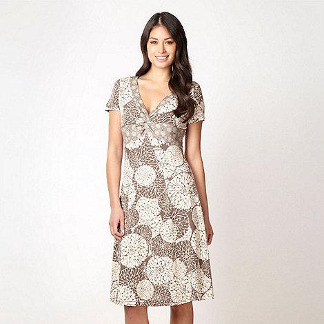 RJR.John Rocha - Designer taupe floral circle jersey dress