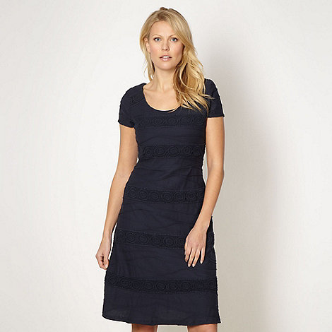 RJR.John Rocha - Designer navy crochet panelled ripple dress