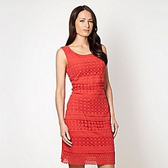 Rocha.John Rocha - Designer dark peach mixed lace dress