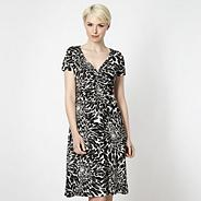 Designer black scatter petal dress