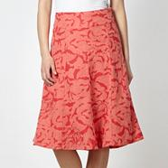 Designer dark peach floral linen blend skirt
