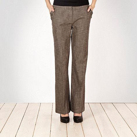 RJR.John Rocha - Brown textured button pocket trousers
