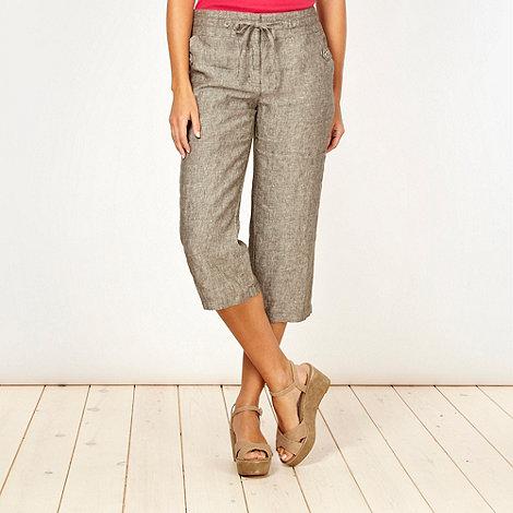 RJR.John Rocha - Designer khaki linen cropped trousers
