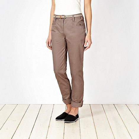 Rocha.John Rocha - Taupe belted chino trousers