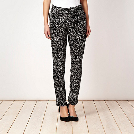 RJR.John Rocha - Black floral belted soft trousers
