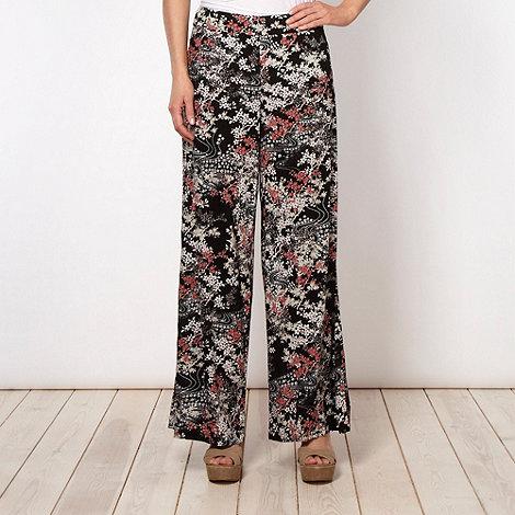 RJR.John Rocha - Designer black floral palazzo trousers