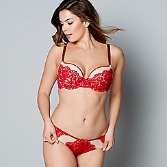 Gorgeous DD+ - Red floral lace 'Ruby' underwired moulded cups DD-G cup plunge bra