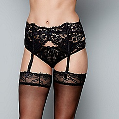 Gorgeous DD+ - Black floral lace suspender