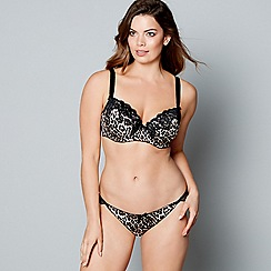 Gorgeous DD+ - Black animal print underwired padded DD-G balcony bra
