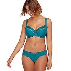 Gorgeous DD+ - Turquoise jacquard 'Florence' underwired non-padded full cup bra