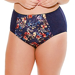 Sculptresse - Navy floral full brief Knickers