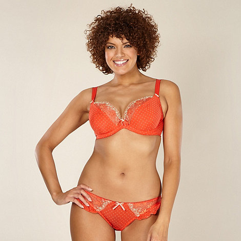 Gorgeous DD+ - Orange spotted non padded DD-J balcony bra