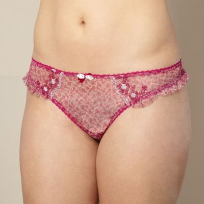 Pink floral embroidered mesh thong