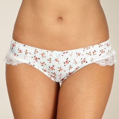 Cream floral spotted satin briefs
