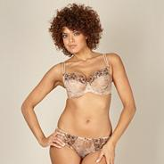 Natural floral embroidered non padded DD-J bra
