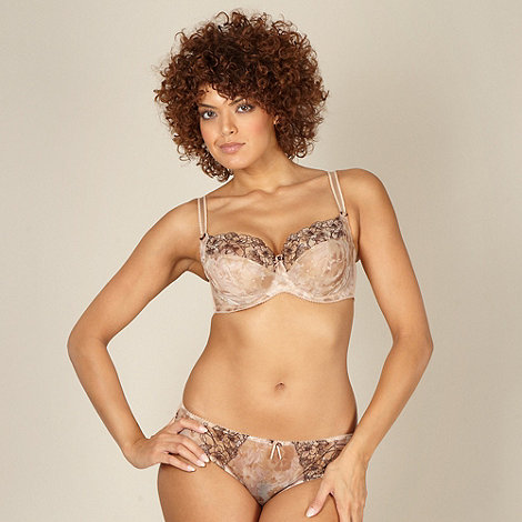 Gorgeous DD+ - Natural floral embroidered non padded DD-J bra