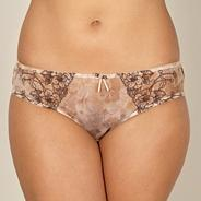 Natural floral embroidered high leg briefs