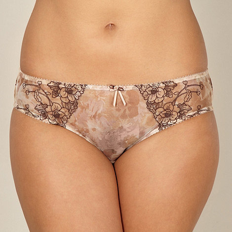 Gorgeous DD+ - Natural floral embroidered high leg briefs