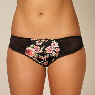 Black floral satin briefs