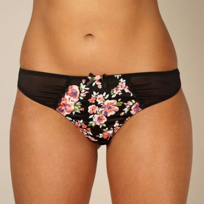 Black floral satin thong