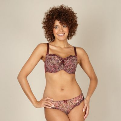Maroon  floral non-padded DD-J full cup bra