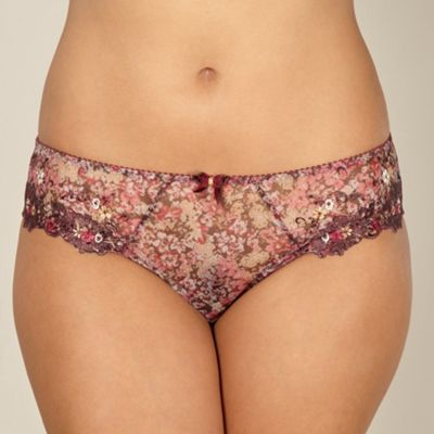 Maroon floral high leg briefs