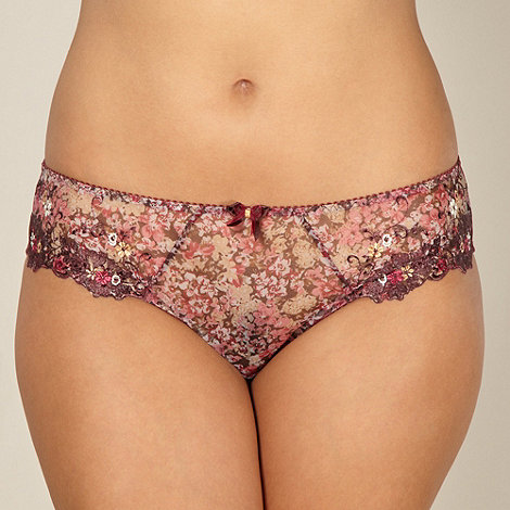 Gorgeous DD+ - Maroon floral high leg briefs