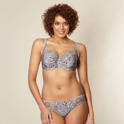 Grey floral and striped full DD-J cup bra