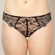 Black lace embroidered thong