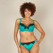Green satin lace trimmed balcony bra