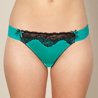 Green satin lace trimmed thong