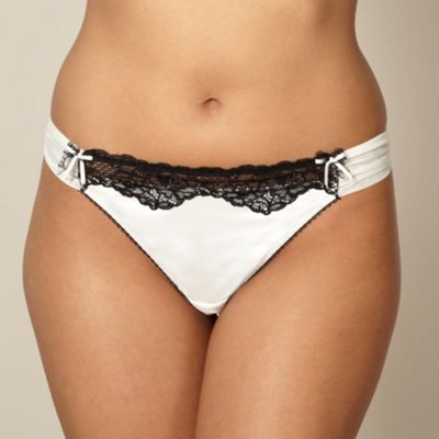 Ivory lace trim thong