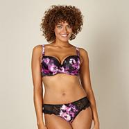 Purple floral satin D-G cup balcony bra
