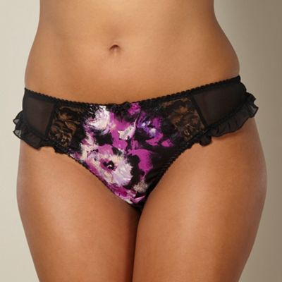 Purple floral satin thong