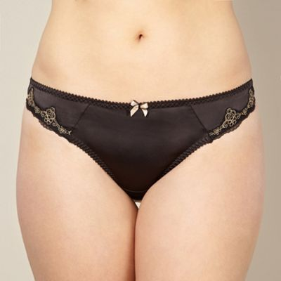 Black satin embroidered lace thong