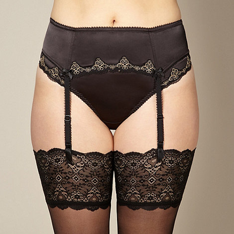 Gorgeous DD+ - Black satin embroidered lace suspender belt