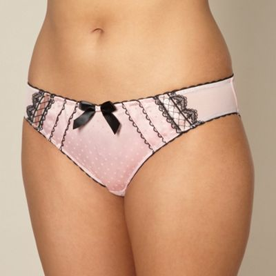 Light pink lace satin brief