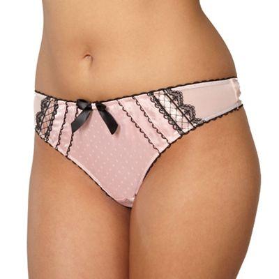 Light pink lace satin thong