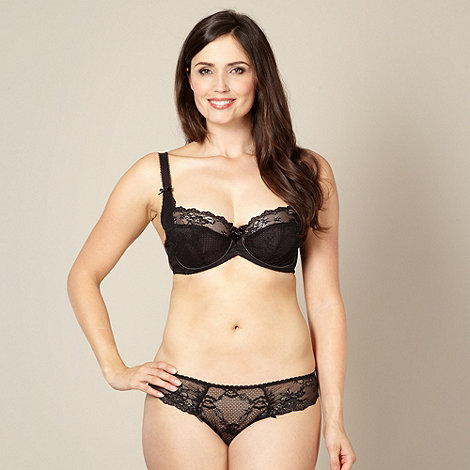 Gorgeous DD+ - Black lace DD-H cup balcony bra