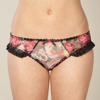Black embroidered rose bikini briefs