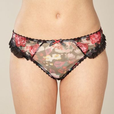 Black embroidered rose thong