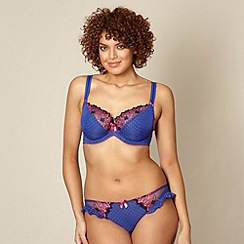 Gorgeous DD+ - Blue spotted DD-J cup balcony bra