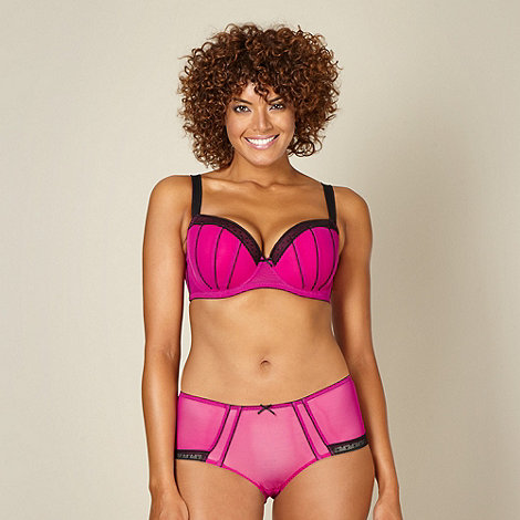 Gorgeous DD+ - Dark pink spotted trim D-G balcony bra